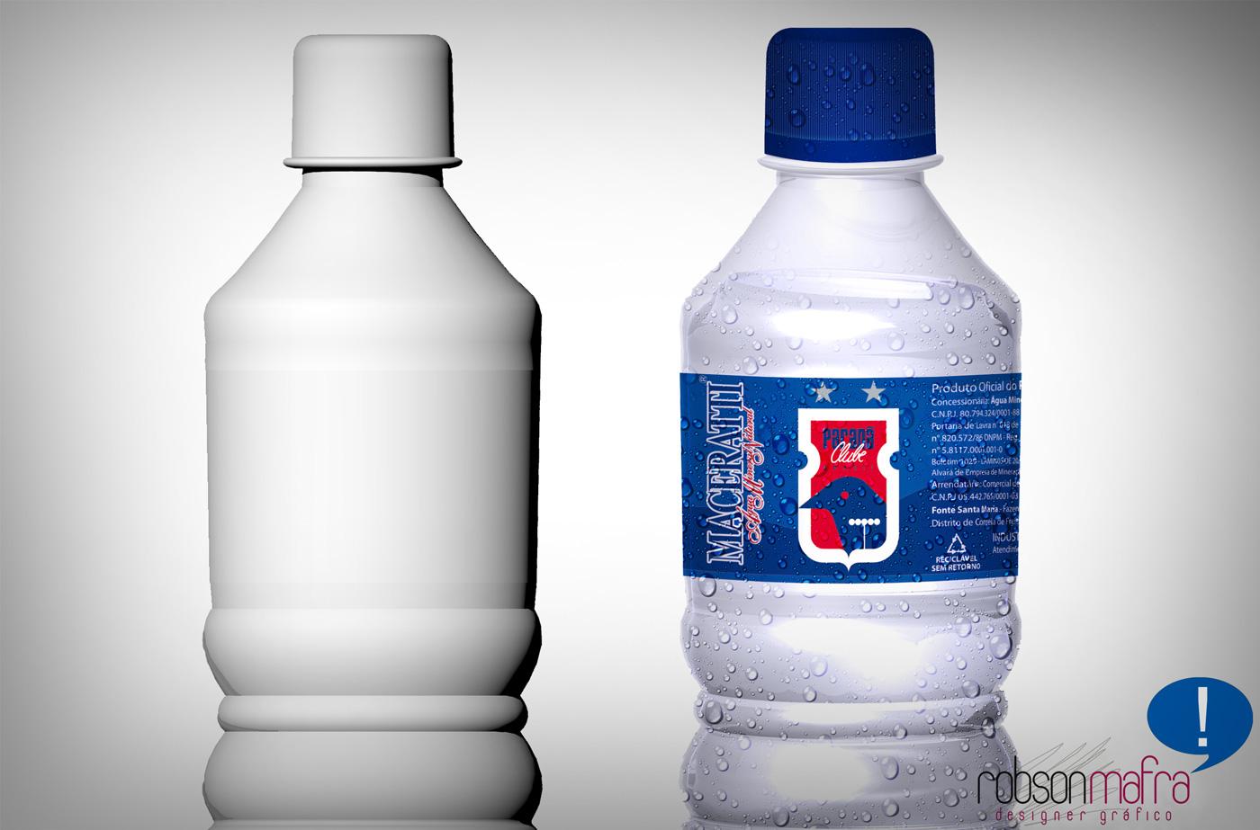 Ilustração digital em 3D da garrafa da Água Mineral do Paraná Clube