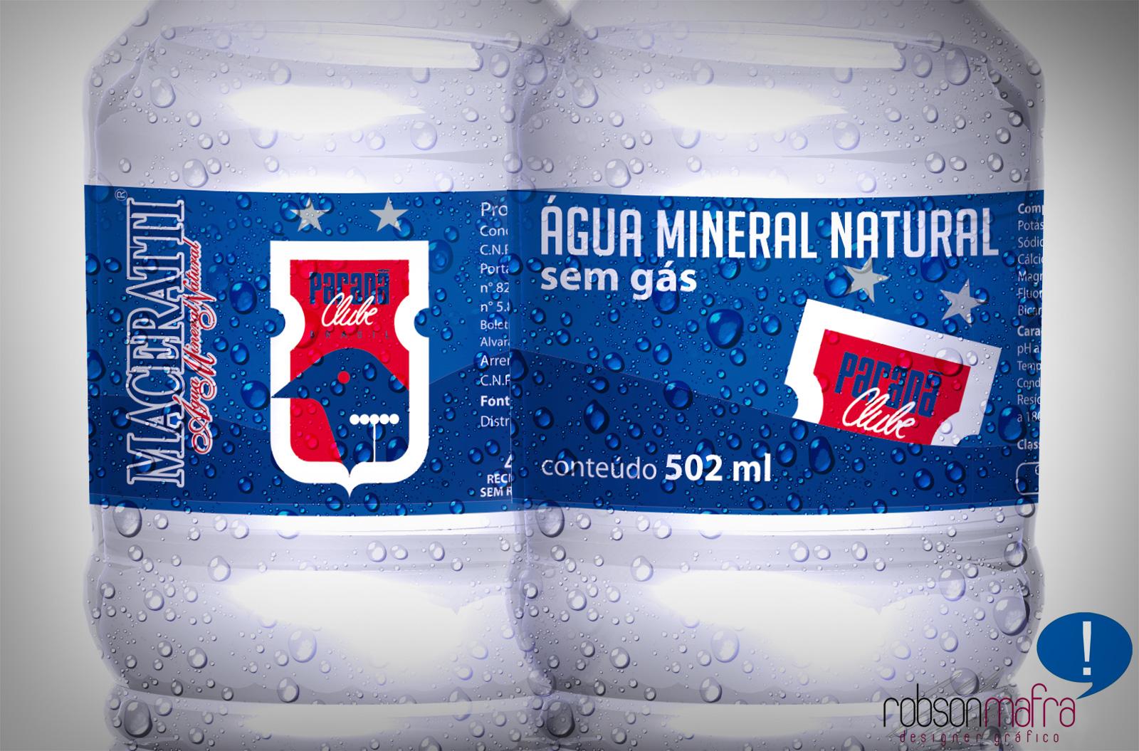 Ilustração digital do rótulo da Água Mineral do Paraná Clube, produzido em 2010.